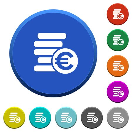 ledge: Euro coins round color beveled buttons with smooth surfaces and flat white icons