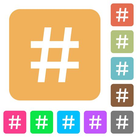 hash: Hash tag flat icons on rounded square vivid color backgrounds.