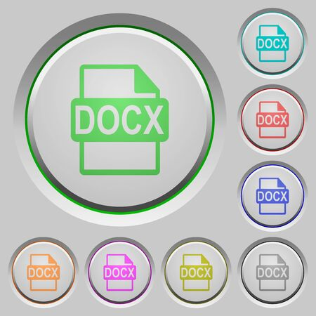 datasets: DOCX file format color icons on sunk push buttons Illustration