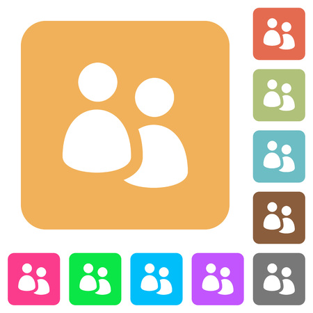 User group flat icons on rounded square vivid color backgrounds.