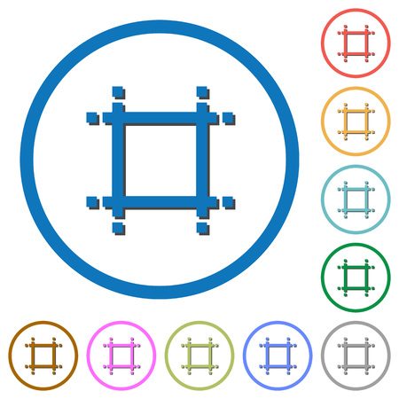 shrink: Adjust canvas size flat color vector icons with shadows in round outlines on white background