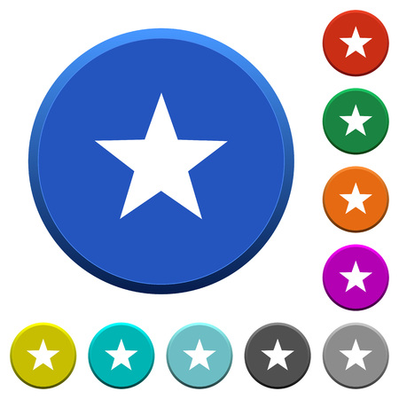 Favorite round color beveled buttons with smooth surfaces and flat white icons Illustration