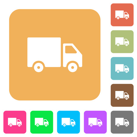 Delivery truck flat icons on rounded square vivid color backgrounds.
