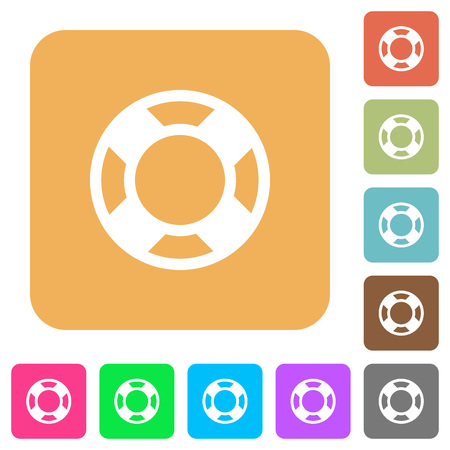 survive: Lifesaver flat icons on rounded square vivid color backgrounds.