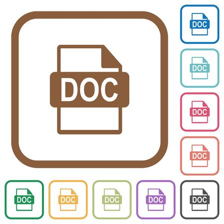 datasets: DOC file format simple icons in color rounded square frames on white background
