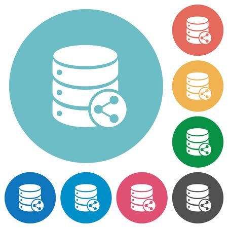 Database table relations flat white icons on round color backgrounds
