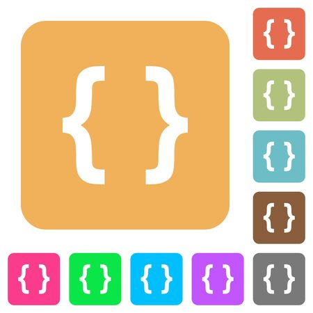 programming code: Programming code flat icons on rounded square vivid color backgrounds. Illustration