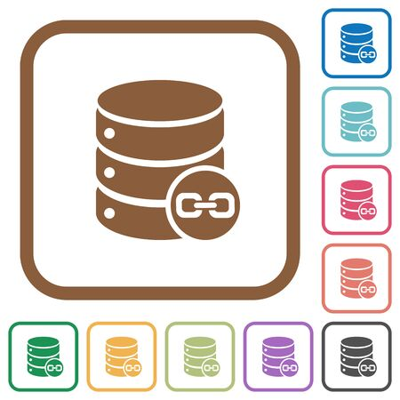 joined: Joined database tables simple icons in color rounded square frames on white background