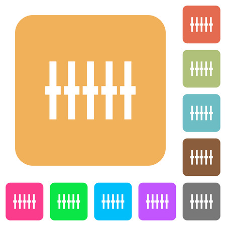 equalizer sliders: Graphical equalizer flat icons on rounded square vivid color backgrounds.
