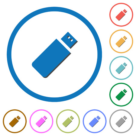 Pendrive flat color vector icons with shadows in round outlines on white background