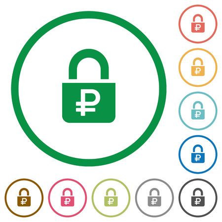 Locked Rubles flat color icons in round outlines on white background