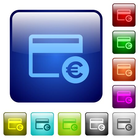 bankcard: Euro credit card icons in rounded square color glossy button set Illustration
