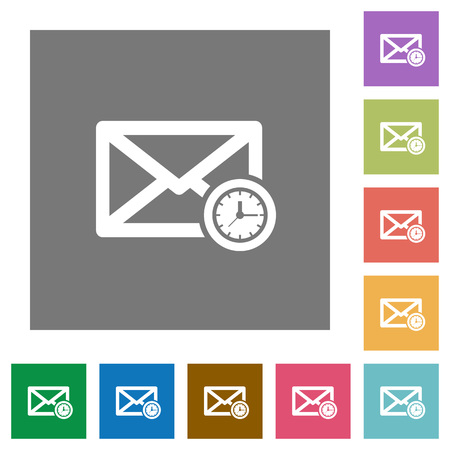 timed: Queued mail flat icons on simple color square backgrounds
