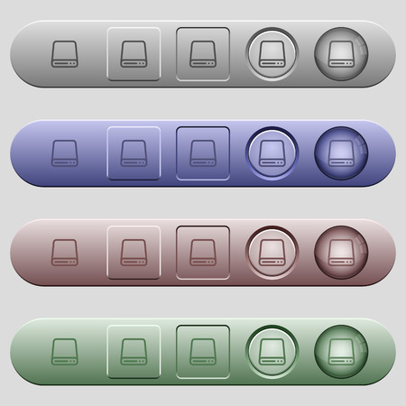 Hard disk drive icons on rounded horizontal menu bars in different colors and button styles