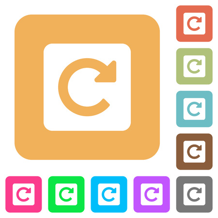 rotate: Rotate right flat icons on rounded square vivid color backgrounds.