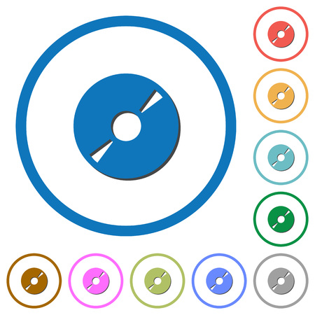DVD disk flat color vector icons with shadows in round outlines on white background