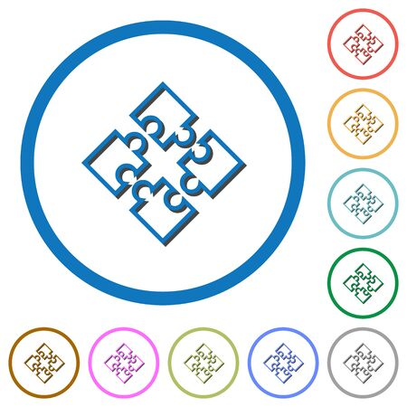Puzzle pieces flat color vector icons with shadows in round outlines on white background Illustration