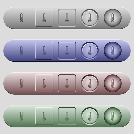 salient: Thermometer icons on rounded horizontal menu bars in different colors and button styles Illustration