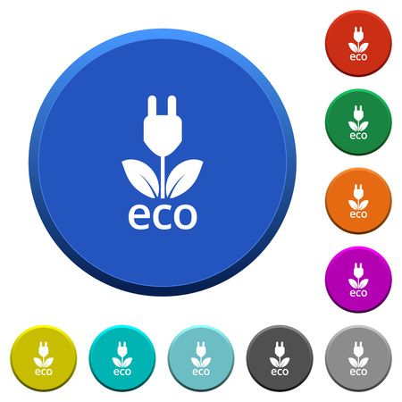 margin of safety: Eco energy round color beveled buttons with smooth surfaces and flat white icons