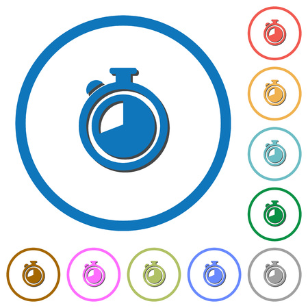 elapsed: Timer flat color vector icons with shadows in round outlines on white background
