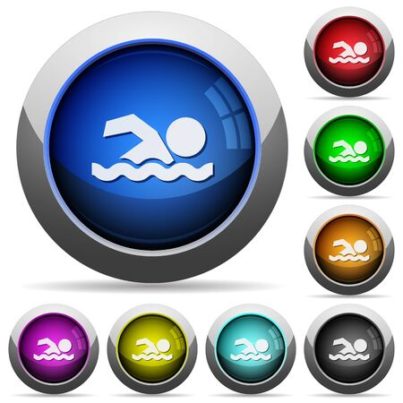 watery: Swimming man icons in round glossy buttons with steel frames