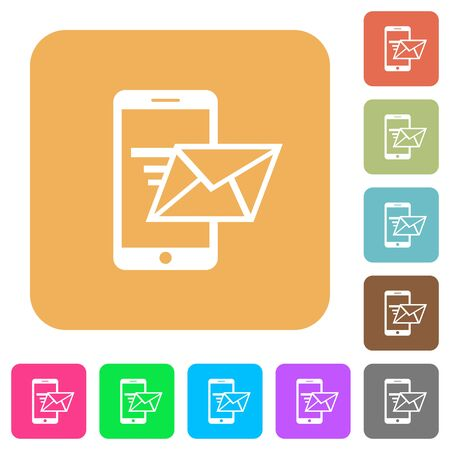 sending: Sending email from mobile phone flat icons on rounded square vivid color backgrounds.