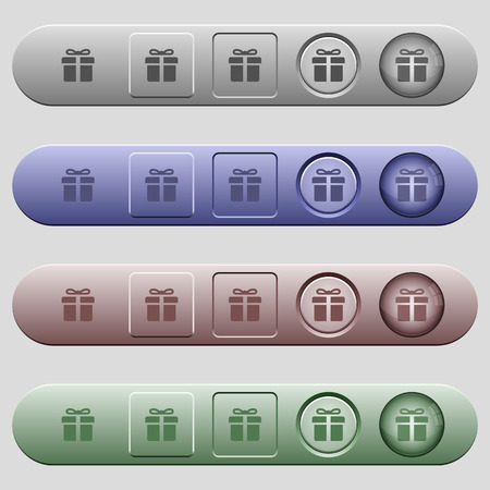 Gift box icons on rounded horizontal menu bars in different colors and button styles
