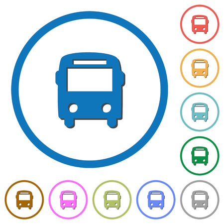 Bus flat color vector icons with shadows in round outlines on white background