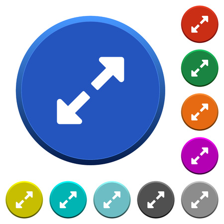 Resize full round color beveled buttons with smooth surfaces and flat white icons