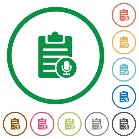 writing pad: Voice note flat color icons in round outlines on white background Illustration