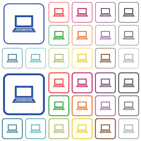 framed: Laptop with blank screen color flat icons in rounded square frames. Thin and thick versions included. Illustration