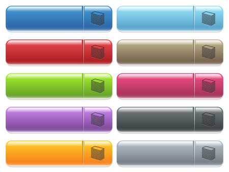 Paper stack engraved style icons on long, rectangular, glossy color menu buttons. Available copyspaces for menu captions. Illustration