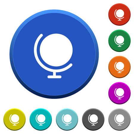 Globe round color beveled buttons with smooth surfaces and flat white icons Stock Illustratie