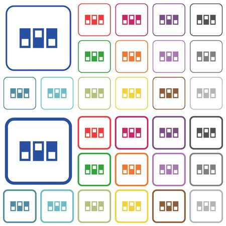 switchboard: Switchboard color flat icons in rounded square frames. Thin and thick versions included. Illustration