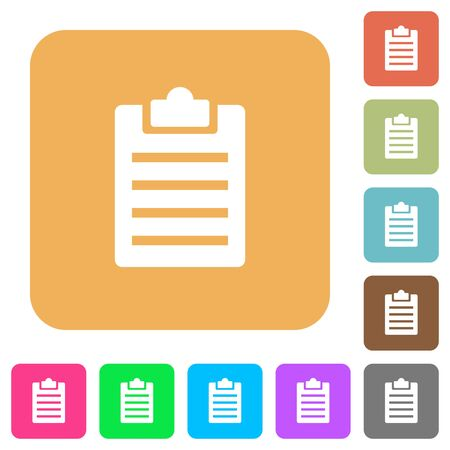 writing pad: Notes flat icons on rounded square vivid color backgrounds.