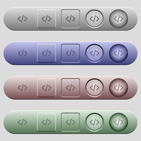 salient: Programming code icons on rounded horizontal menu bars in different colors and button styles