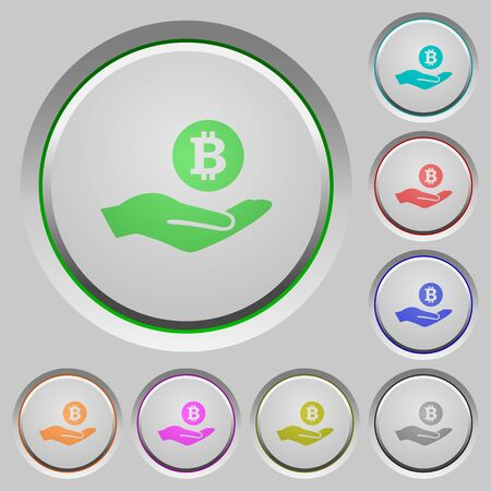 bevel: Bitcoin earnings color icons on sunk push buttons