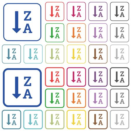 descending: Alphabetically descending ordered list color flat icons in rounded square frames. Thin and thick versions included. Illustration