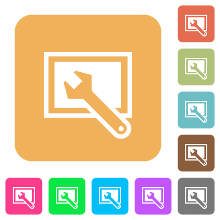 flat screen: Screen settings flat icons on rounded square vivid color backgrounds. Illustration