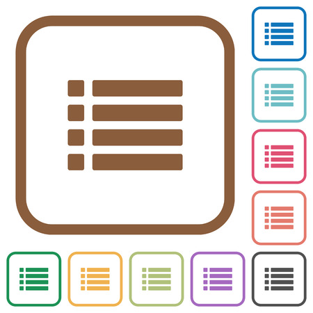 disordered: Unordered list simple icons in color rounded square frames on white background Illustration