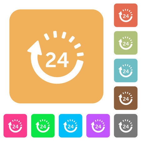 24 hour delivery flat icons on rounded square vivid color backgrounds.