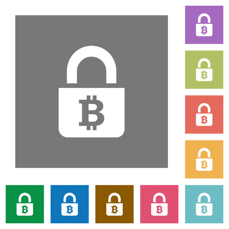 inaccessible: Locked Bitcoins flat icons on simple color square backgrounds