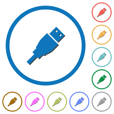 transmit: USB plug flat color vector icons with shadows in round outlines on white background
