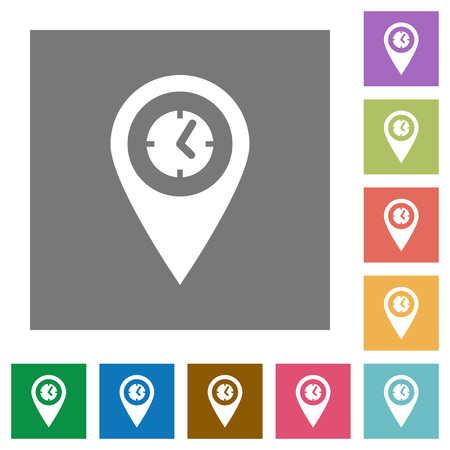 Location arrival time flat icons on simple color square backgrounds Illustration