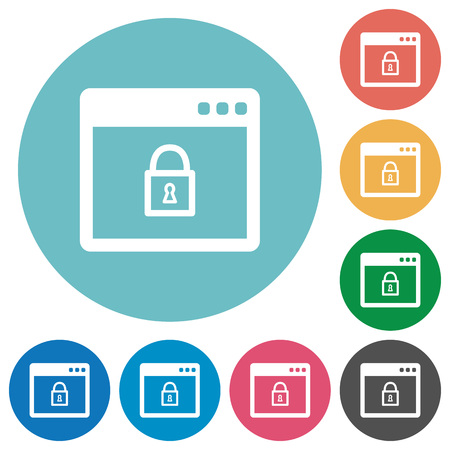 systems operations: Lock application flat white icons on round color backgrounds