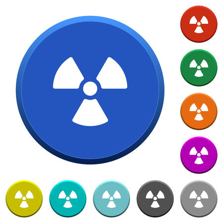 Radiation sign round color beveled buttons with smooth surfaces and flat white icons