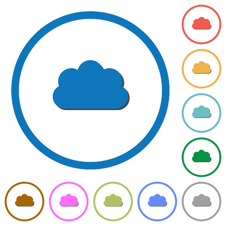 Cloud flat color vector icons with shadows in round outlines on white background