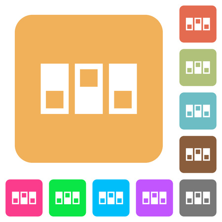switchboard: Switchboard flat icons on rounded square vivid color backgrounds. Illustration