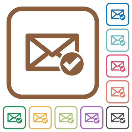 ead: Mail read simple icons in color rounded square frames on white background Illustration
