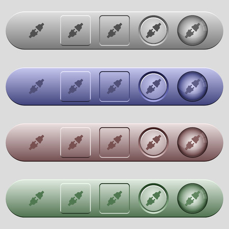 conducting: Unplugged power connectors icons on rounded horizontal menu bars in different colors and button styles Illustration